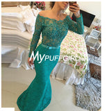 Teal Lace Off The Shoulder Long Sleeves Mermaid Prom Gown With Sheer Back