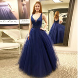 New Arrival V Neck Prom Dress Long Formal Gown With Tulle Ball Gown Skirt