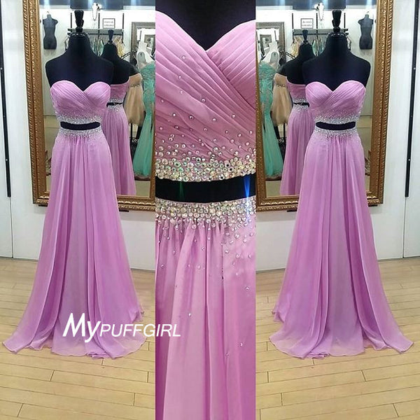 Beaded Sweetheart Two Piece Chiffon Prom Dress With Ruched Bodice