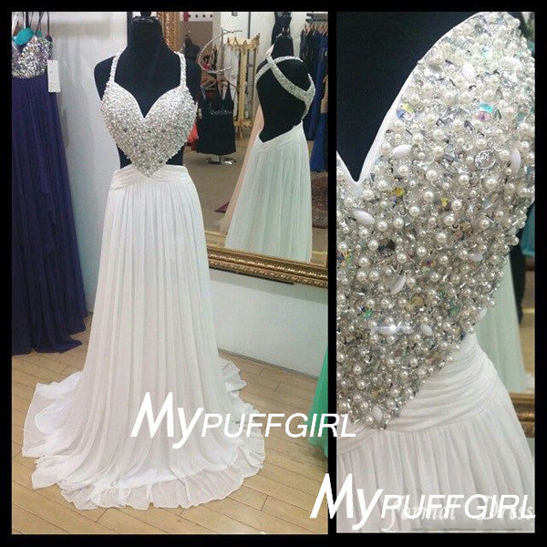 Ivory Sweetheart Beaded Pearls Chiffon Prom Dress With Back Out And Cut Out Waist