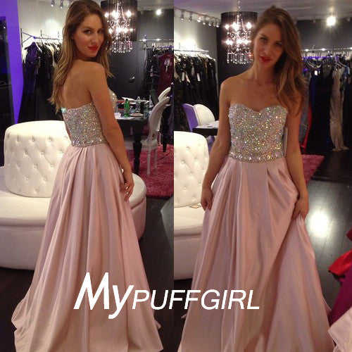 Pink Strapless Chiffon Long Senior Prom Dress With Full Beaded Bodice