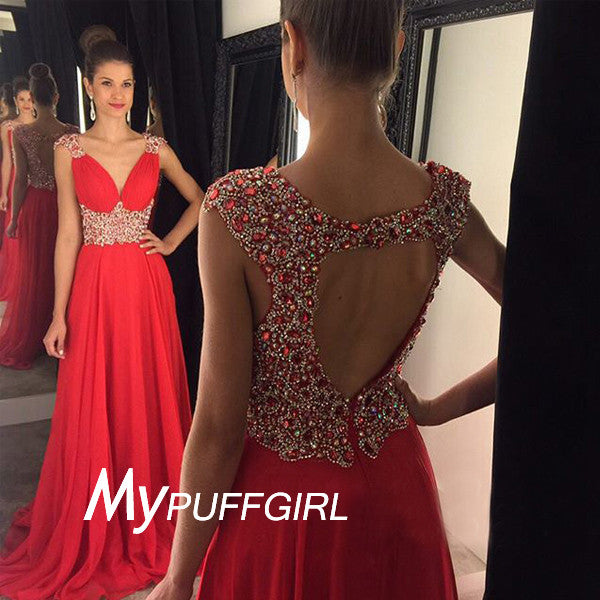 Red V Neck Beaded Cap Sleeves Prom Dress With Keyhole Open Back