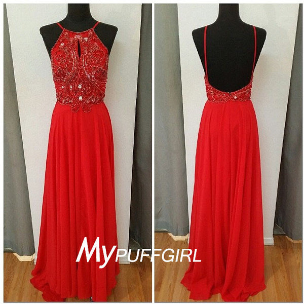 2016 Fashion Red  Halter Beaded Chiffon Prom Dress With Open Back
