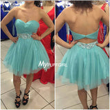 Ice Blue Sweetheart Tulle Cocktail Dress, Short Party Dress Ruched Bodice