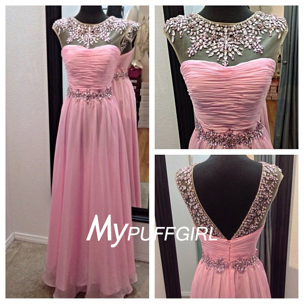 Classy Pink Beaded Illusion V Back Prom Dress With Pleated Bodice