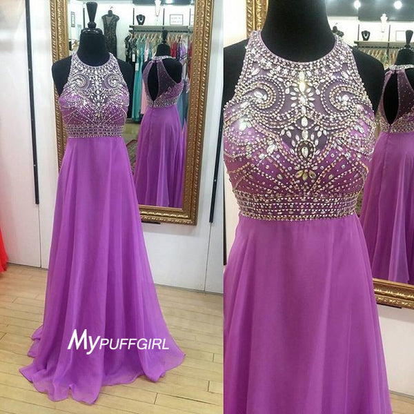 Beaded Sleeveless Chiffon Long Prom Dress, Formal Gown With Keyhole Back