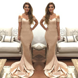 Champagne Mermaid Prom Dress,Off The Shoulder Homecoming Dress Side Slit