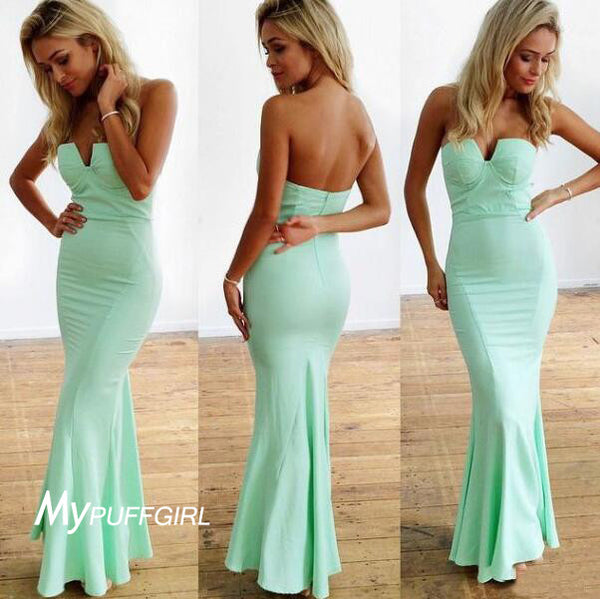 Mint Green Strapless Satin Mermaid Prom Dress, Formal Gown