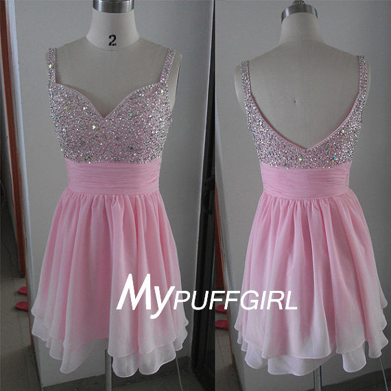 Pink Beaded Sweetheart Empire Cocktail Party Dress With Straps