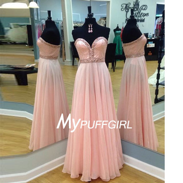 Fashion Pink Beaded Sweetheart Floor Length Chiffon Prom Dress