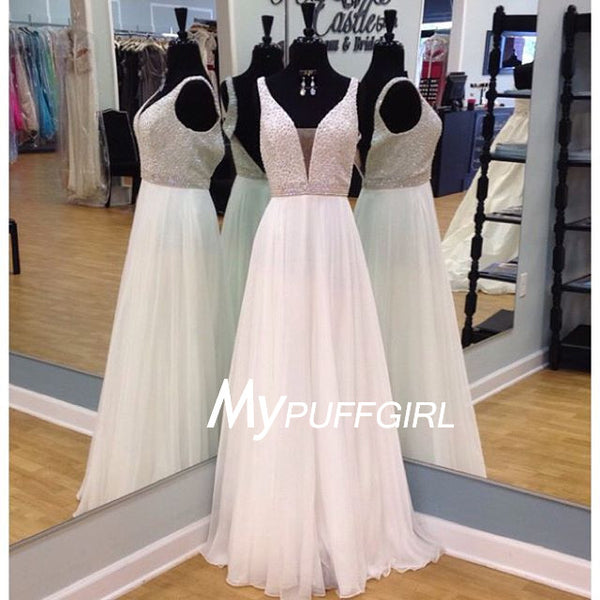 White Full Beaded Bodice Plunging V Neck Prom Dress With V Back