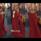 Red High Neck Fitted Jersey Formal Gown ,Prom Dress Cut Out Back