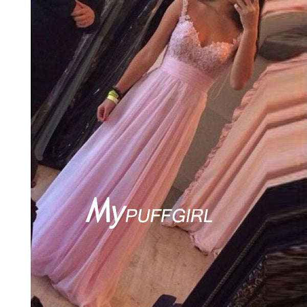 Pink Sweetheart Straps Empire Chiffon Long Party Dress With Lace Bodice