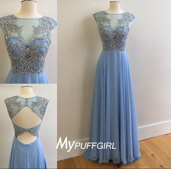 Light Blue Cap Sleeves Illusion Beaded Chiffon Prom Dress With Cut Out Back