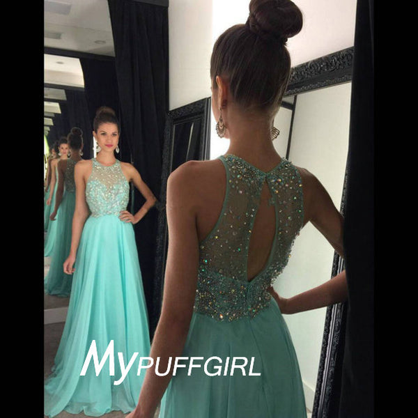 Mint Sleeveless Beaded Chiffon Prom Dress With Small Keyhole Back