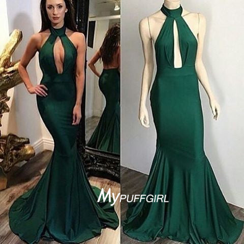 Dark Green Halter Backless Prom Dress, Formal Gown Cut Out Bodice