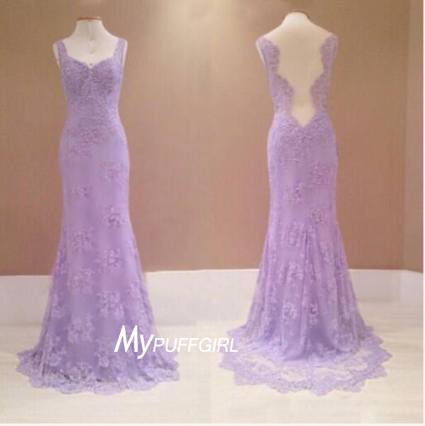 Fit And Flare Lavender Lace Sweetheart Formal Prom Gown With Sheer Back