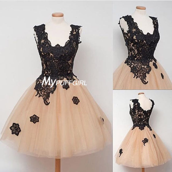 Tulle A Line Homecoming Dress , Short Party Dress With Black Lace Appliques