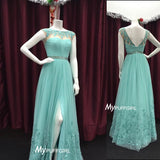 Mint Green Illusion Slit Prom Dress, Formal Gown, Evening Dress V Back