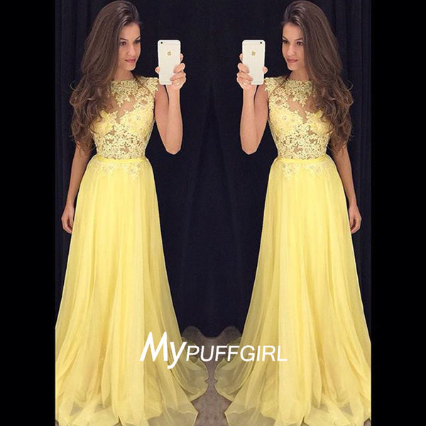 2016 Fashion Yellow High Neck Long Prom Dress With Sheer Lace Bodice