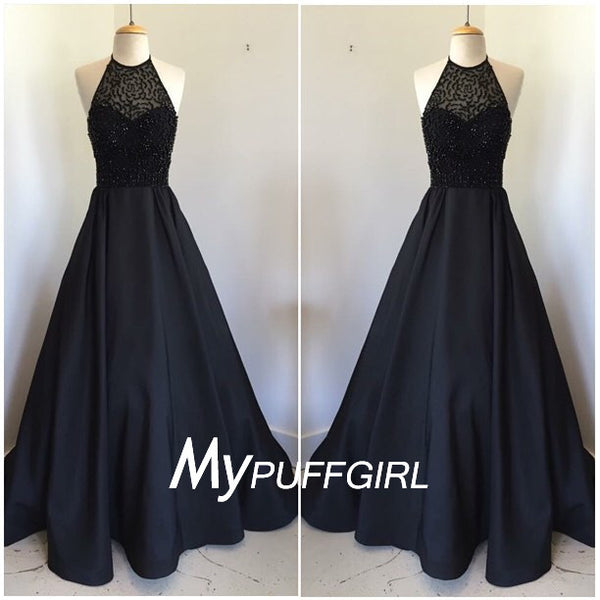 Black Satin A Line Prom Dress ,  High Halter Beaed Formal Gown
