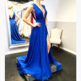 Royal Blue Deep V Neck Formal Gown,Backless Chiffon Long Maxi Dress
