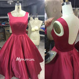 Burgundy Satin A Line Backless Homecoming Dress,Cocktail Dress