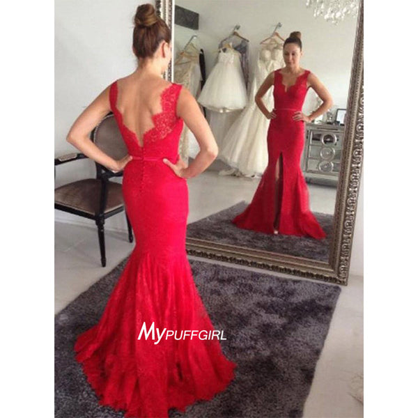 Red Sleeveless Lace V Neck Mermaid Formal Prom Gown With Centre Slit
