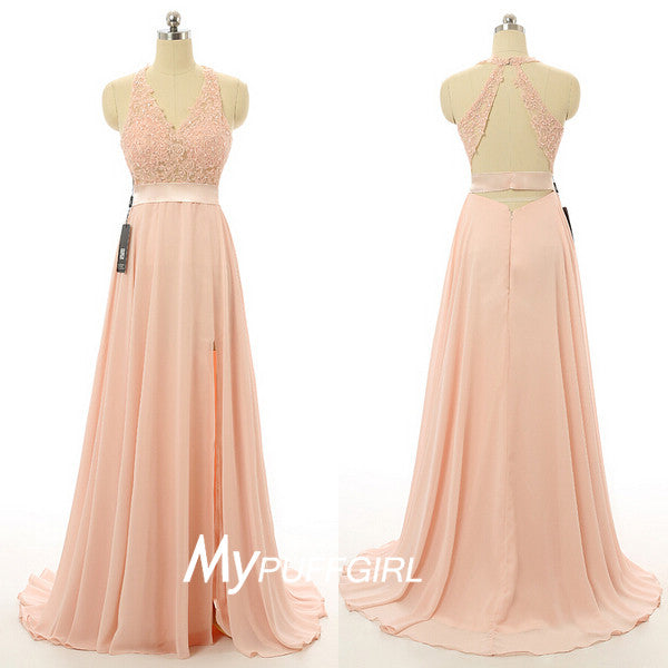 Pearl Pink Halter V Neck Open Back Long Prom Dress With Lace Appliques Bodice