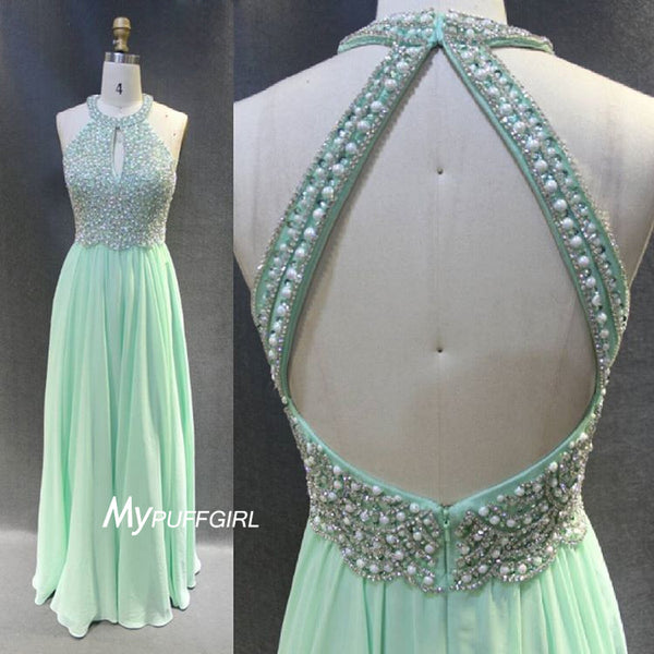 Beaded Jewel Neck Mint Green Open Back Prom Dress, Formal Gown