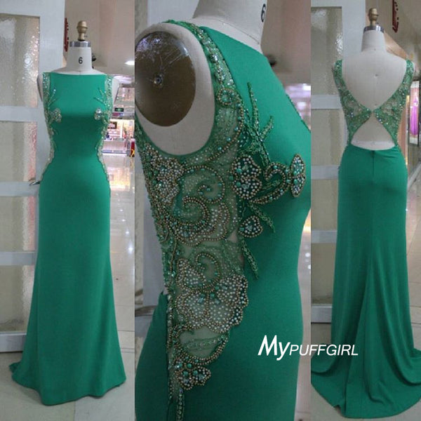 Beaded Jersey Fitted Green Formal Gown ,Prom Dress Cut Out Back
