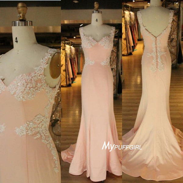 Blush Sweetheart Mermaid Formal Gown,Prom Dress Lace Appliques Straps