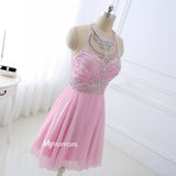 Beaded Pink Sleeveless Cocktail Dress, Open Back Homecoming Dress