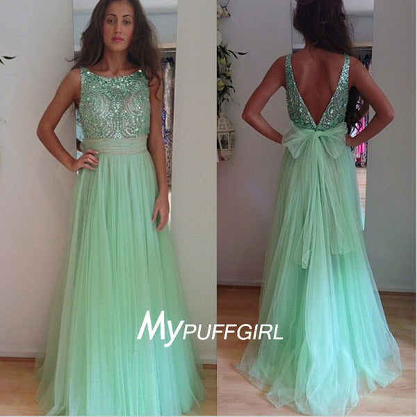 Mint Green Tulle Bateau V Back A Line Prom Dress With Full Beaded Bodice