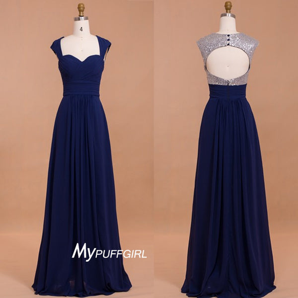 Navy Blue Sweetheart Cap Sleeves Bridesmaid Dress With Open Back