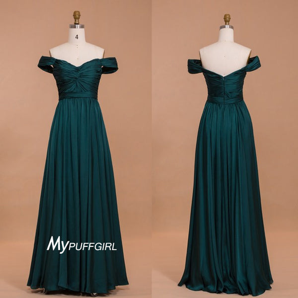 Dark Green Off The Shoulder Chiffon Evening Dress With Ruched Bodice