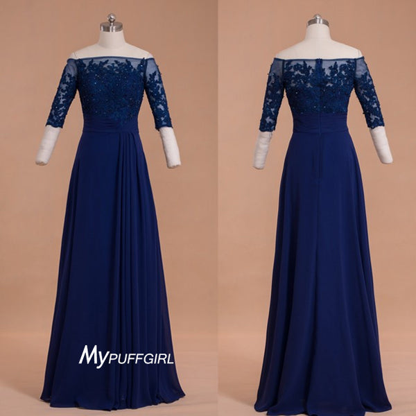 Navy Blue 3/4 Sleeve Off The Shoulder Prom Dress With Lace Appliques