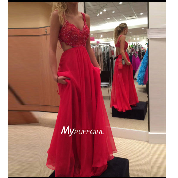 Red Beaded Sweetheart Straps Prom Dress With Cut Out Waist And Back