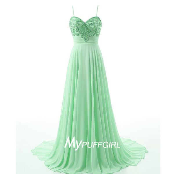 Mint Green Sweetheart Beaded Bodice Formal Gown With Spaghetti Straps