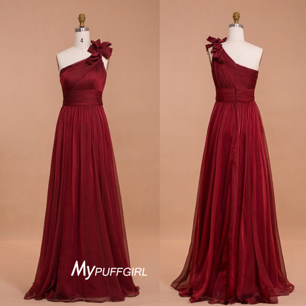 Wine Red One Shoulder Floor Length Bridesmaid Dress With Floral Detail
