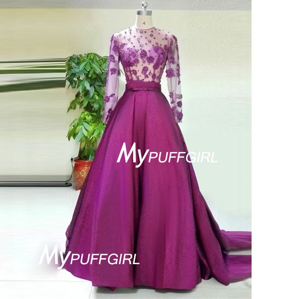 Persian Plum Long Sleeves Satin Prom Gown With Sheer Foral Appliques Bodice