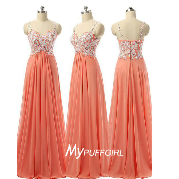 Coral Empire Chiffon Prom Dress With Lace Bodice , Spaghetti Straps