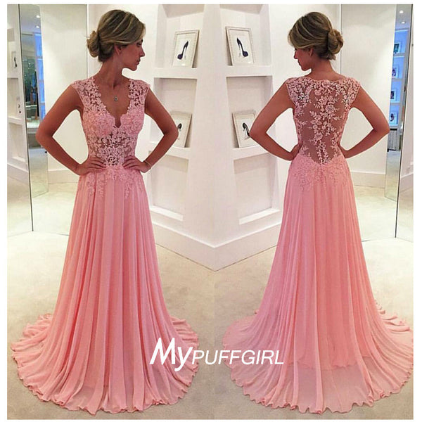 Pink Cap Sleeves V Neck Chiffon Prom Dress With Sheer Lace Waist And Back