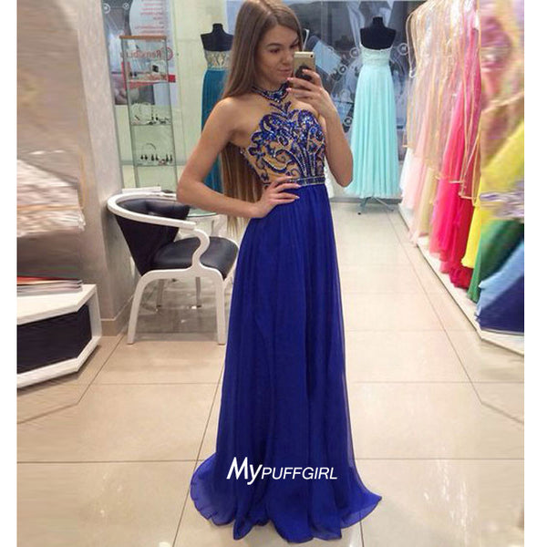 Royal Blue Halter Chiffon Prom Dress, Formal Gown With Beaded Bodice