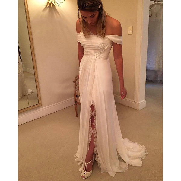 Ivory Off The Shoulder Formal Gown, Chiffon Long Party Dress With Slit Skirt