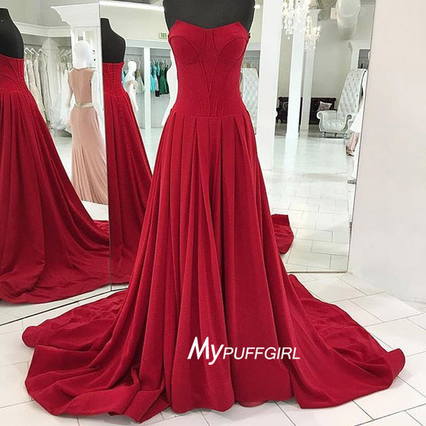 Red Strapless Satin Sweep Train Prom Gown With Pleated A Line Skirt