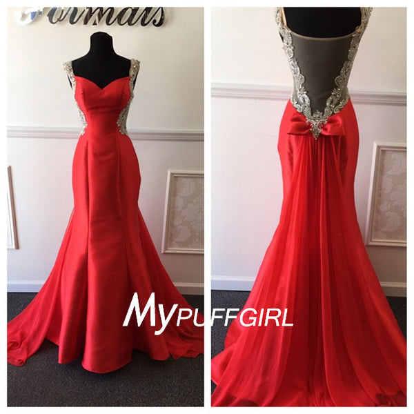 Red Satin Beaded Mermaid Gown , Cap Sleeves Sheer Back Prom Dress