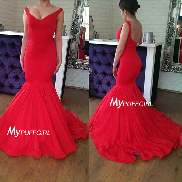 Red Off The Shoulder Mermaid Prom Dress , Formal Gown With Low Back