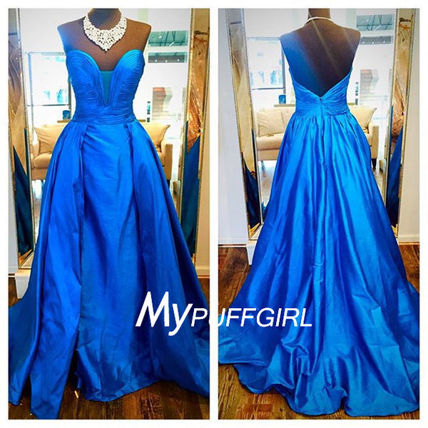 2016 Blue Taffeta Plunging Sweetheart Prom Gown With Sweep Train