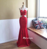 Red Halter Open Back Satin Fitted Prom Dress With Cut Out Waist
